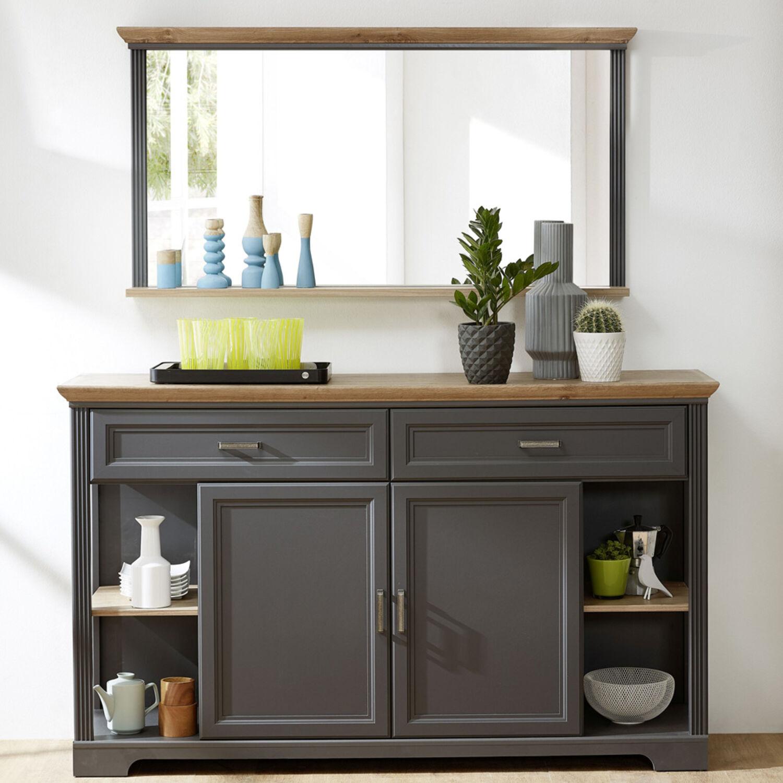 Sideboard & Wandspiegel Set Esszimmer Flur Kommode Mit Regal With Best And Newest Kratz Sideboards (View 16 of 20)