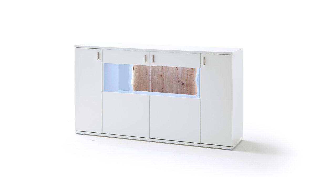 Sideboard, Weiße & Balkeneichefarbene Kunststoffoberflächen – Vier Türen Regarding Most Recent Kratz Sideboards (View 5 of 20)