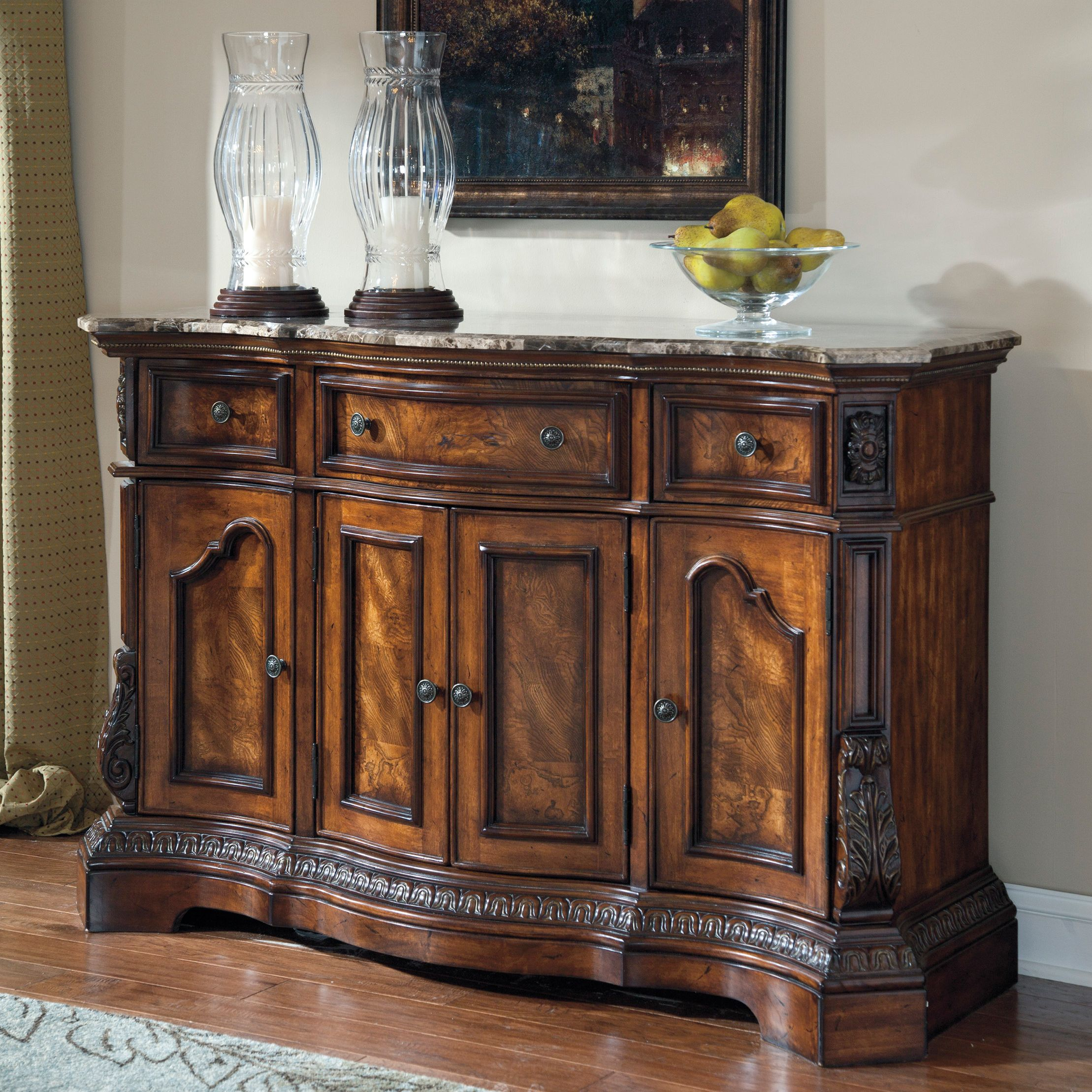 Signature Designashley 'ledelle' Dark Cherry Dining Room With Newest Shoreland Sideboards (#18 of 20)