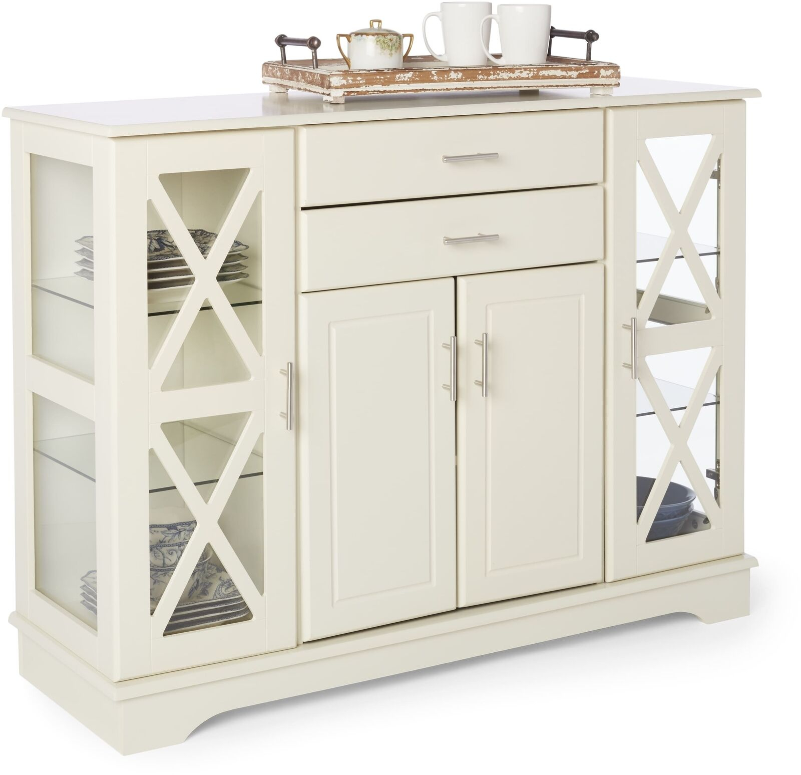 Simple Living Antique White Kendall Buffet Display Cabinet Drawers With Most Popular Kendall Sideboards (#16 of 20)