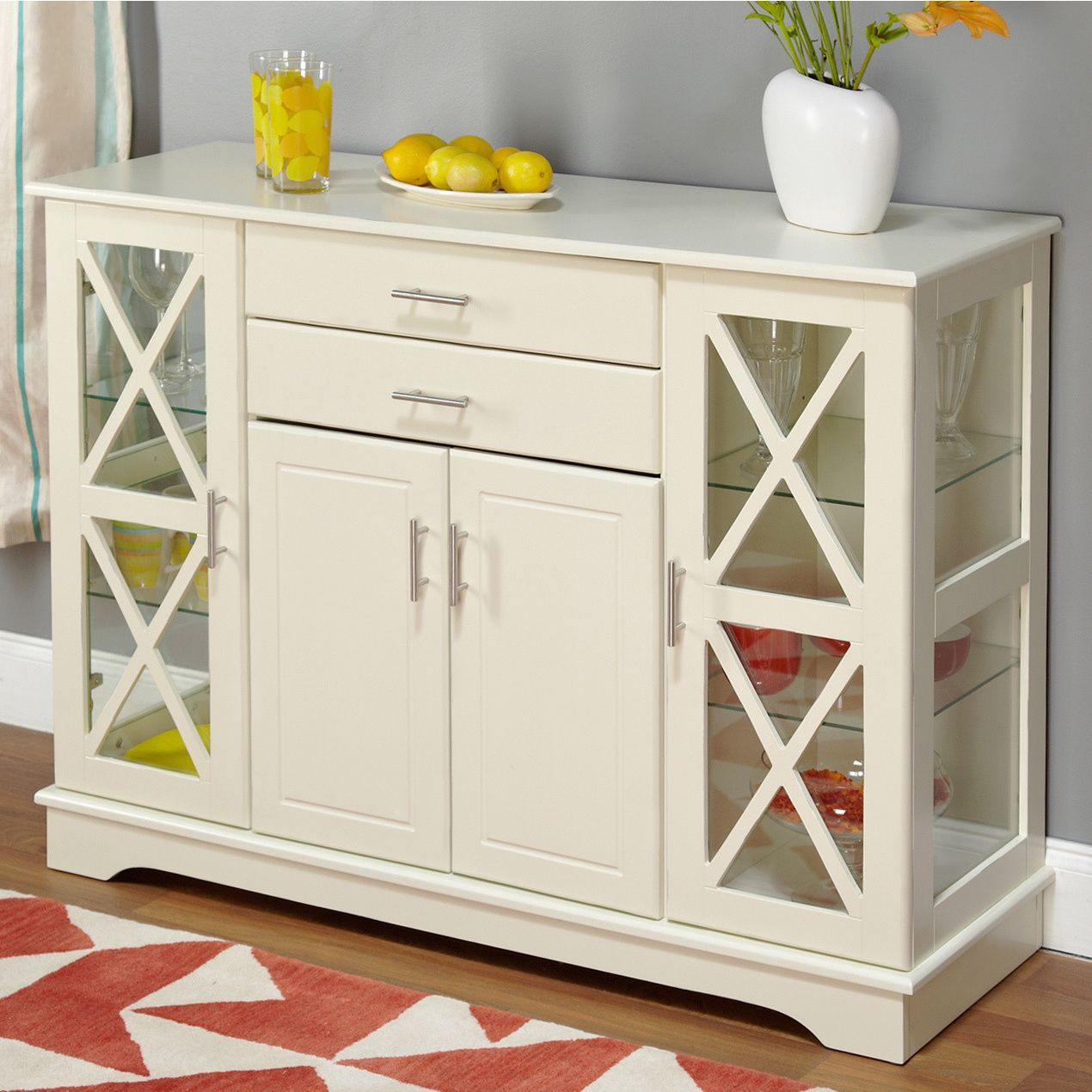 Simple Living Antique White Kendall Buffet | ❤Dining Room Intended For Most Current Kendall Sideboards (#18 of 20)