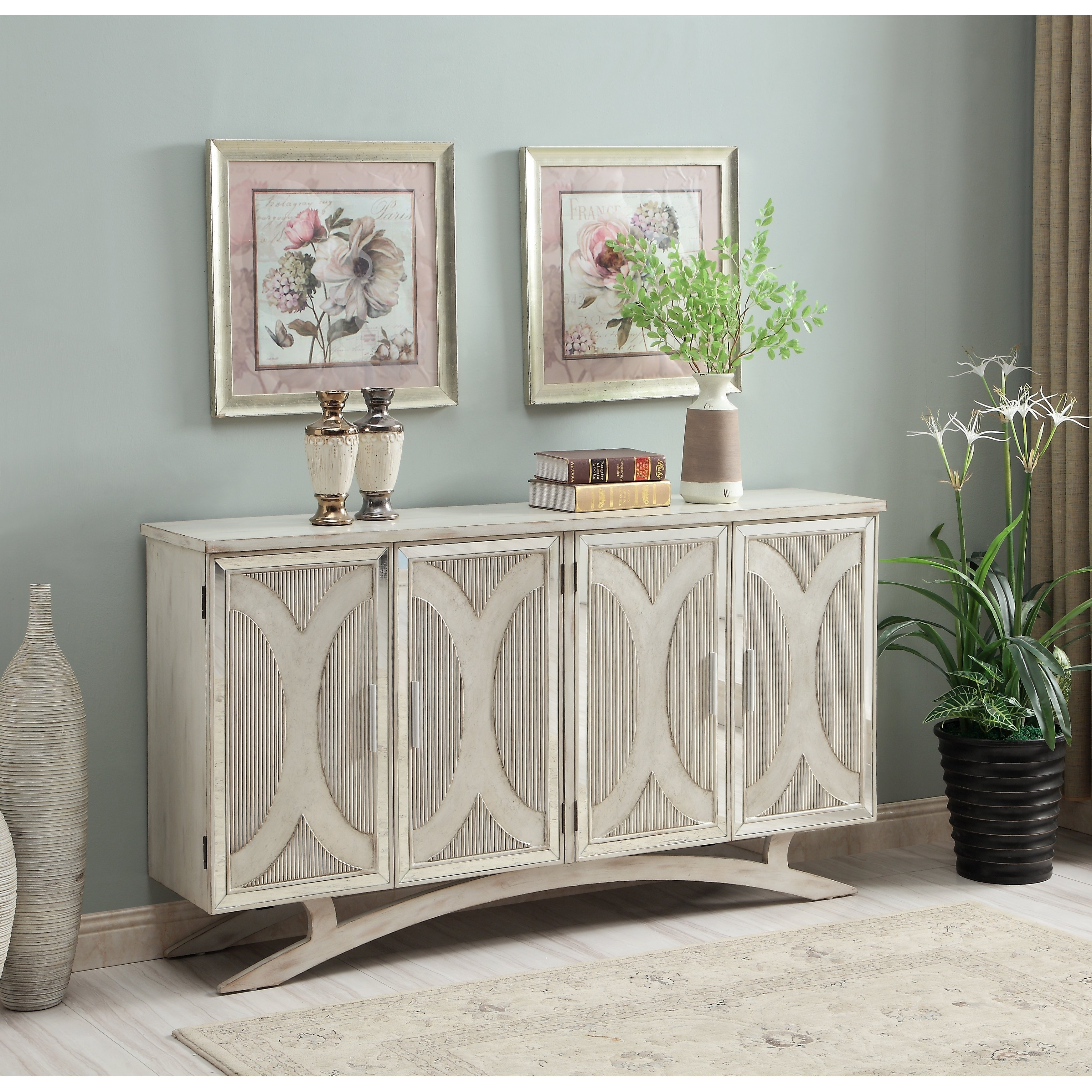 Somette Millicent White And Silver Rub Four Door Media With Most Popular Senda Credenzas (View 19 of 20)