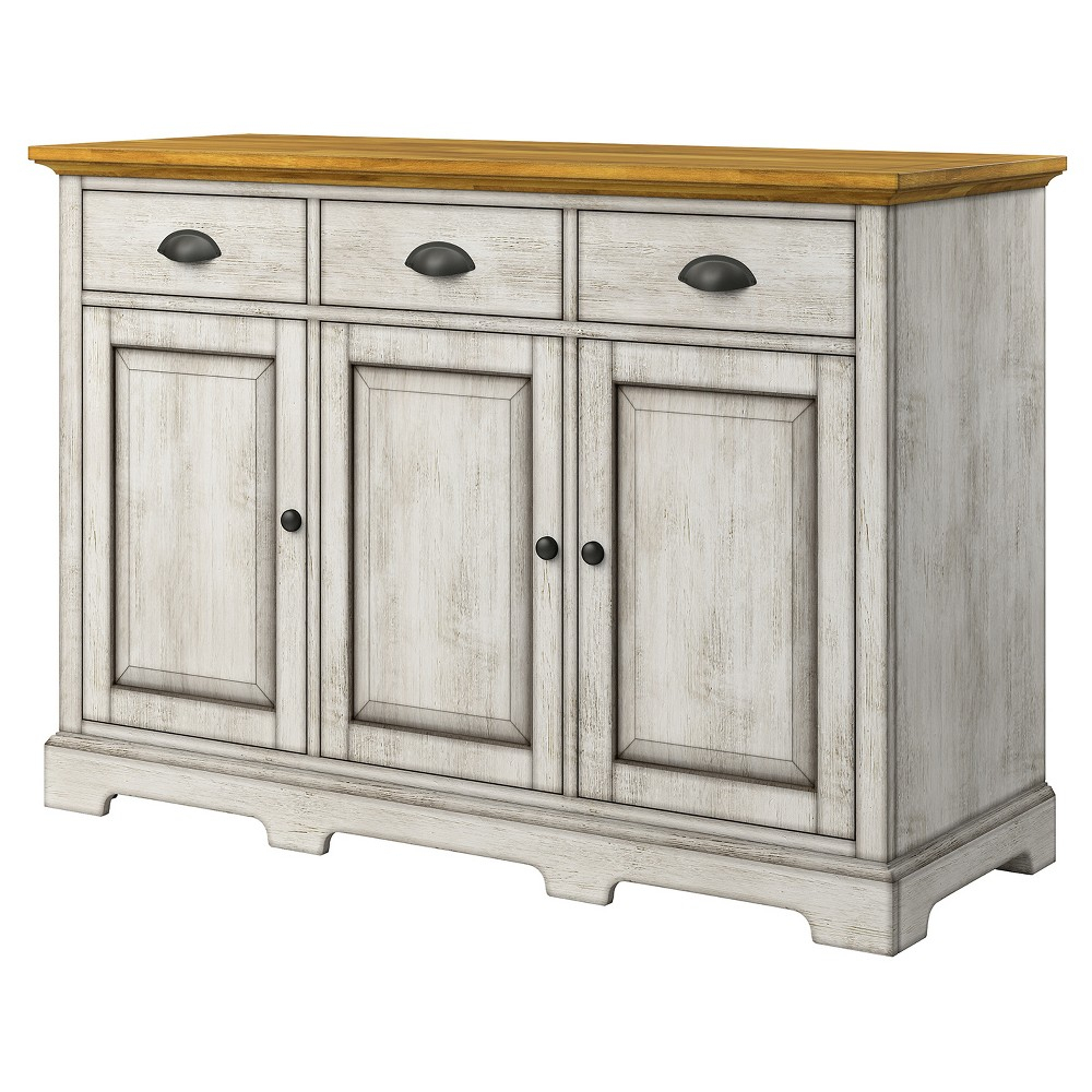 South Hill 3 – Drawer Sideboard Buffet – Antique White In Most Recent Fortville Sideboards (View 16 of 20)