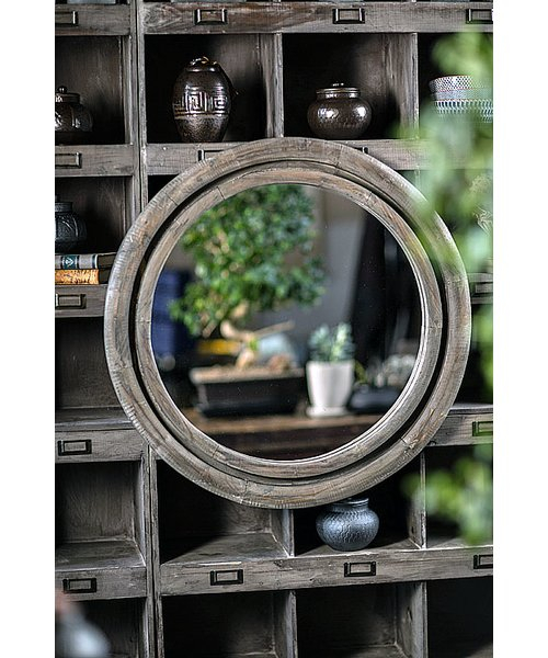 Spindler Round Recycled Pine Accent Mirror Regarding Charters Towers Accent Mirrors (View 18 of 20)