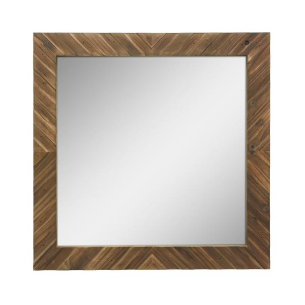 Stonebriar Collection Square Wooden Decorative Wall Mirror Inside Lidya Frameless Beveled Wall Mirrors (#18 of 20)