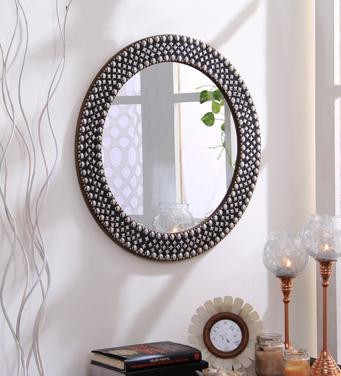 Studded Round Wall Mirrorhosley For Round Eclectic Accent Mirrors (#19 of 20)