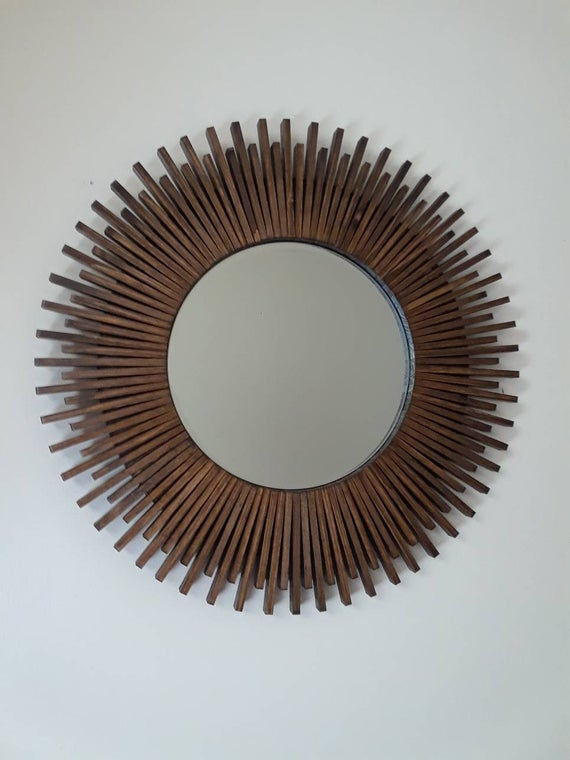 "Sunburst Round Wall Mirror Wood Dark Walnut Color 23"" With Deniece Sunburst Round Wall Mirrors (#16 of 20)"