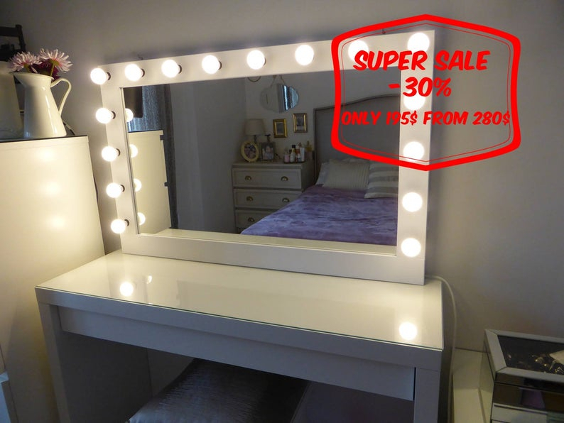 """Super Sale Xl Hollywood Vanity Mirror 43""""x27"""" Makeup Mirror With Lights Perfect For Ikea Malm Vanity Bulbs Not Included In Vanity Mirrors (View 4 of 20)"""