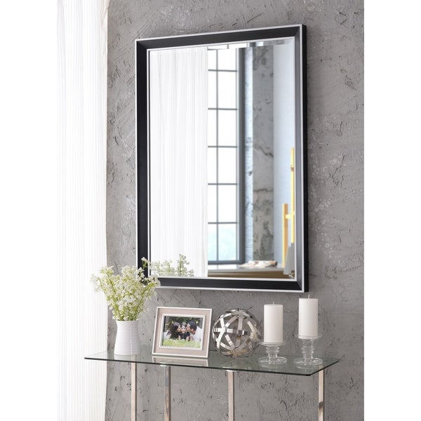 """Tanner 42"""" Wall Mirror – Black With Polished Silver For Tanner Accent Mirrors (#5 of 20)"""