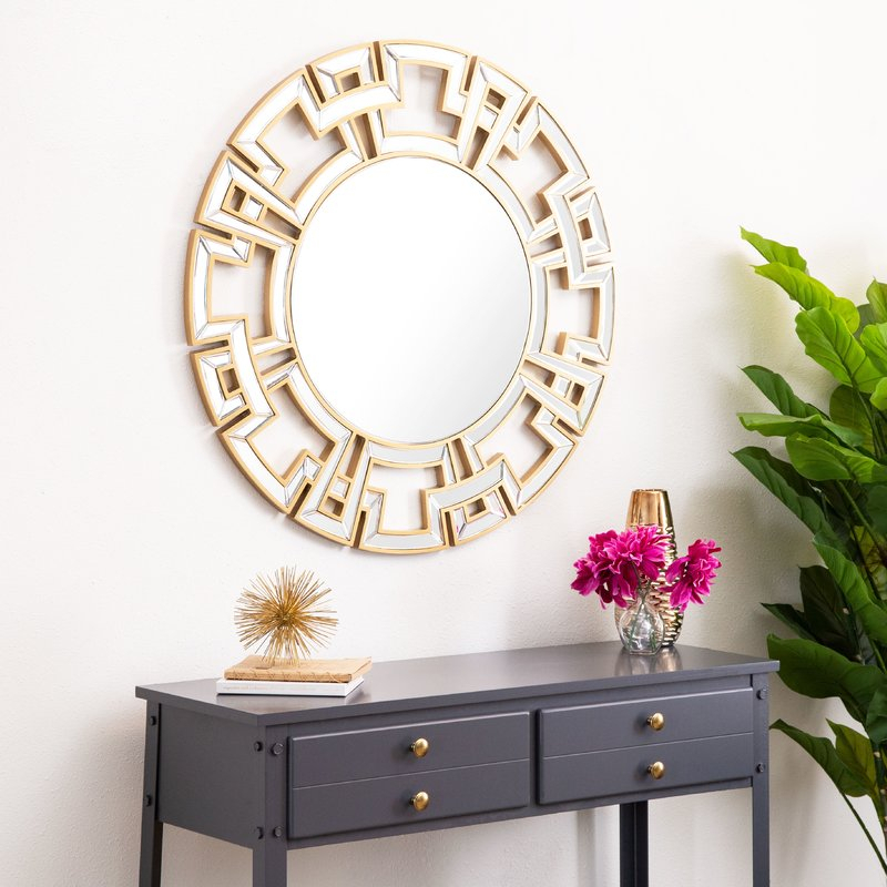 Tata Openwork Round Wall Mirror Regarding Deniece Sunburst Round Wall Mirrors (#19 of 20)