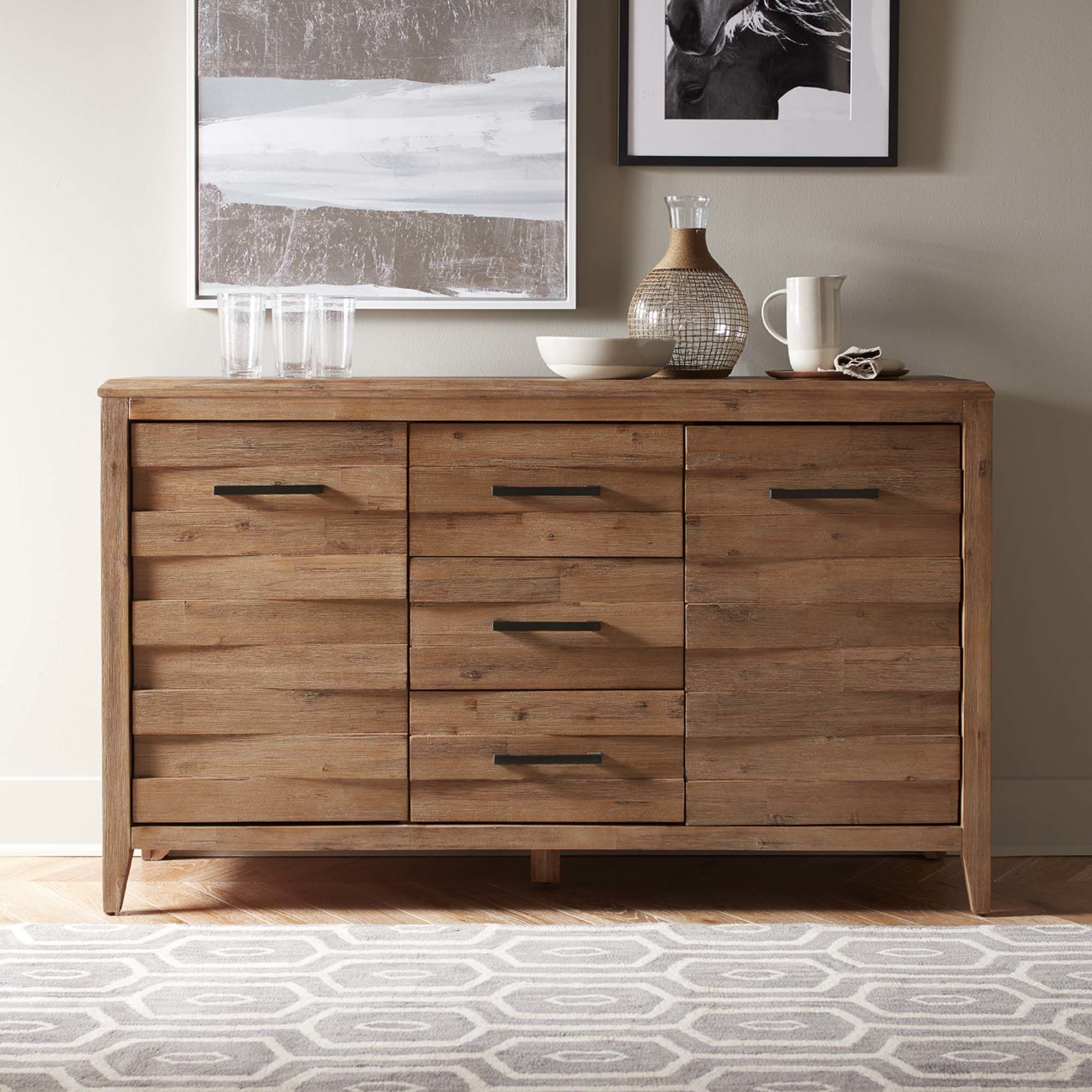 This Handsomely Built Acacia Wood Sideboard Features Rustic With Newest Saint Gratien Sideboards (View 17 of 20)