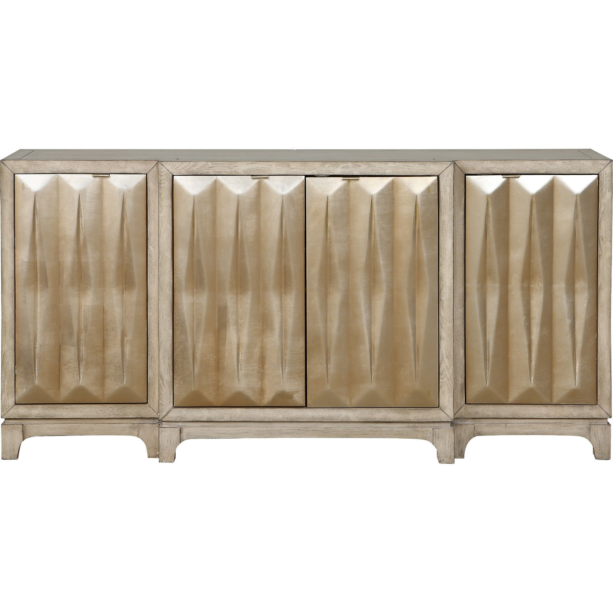 Treasure Trove Accents Luxe 4 Door Media Credenza White/gold Intended For Most Popular Errol Media Credenzas (#20 of 20)