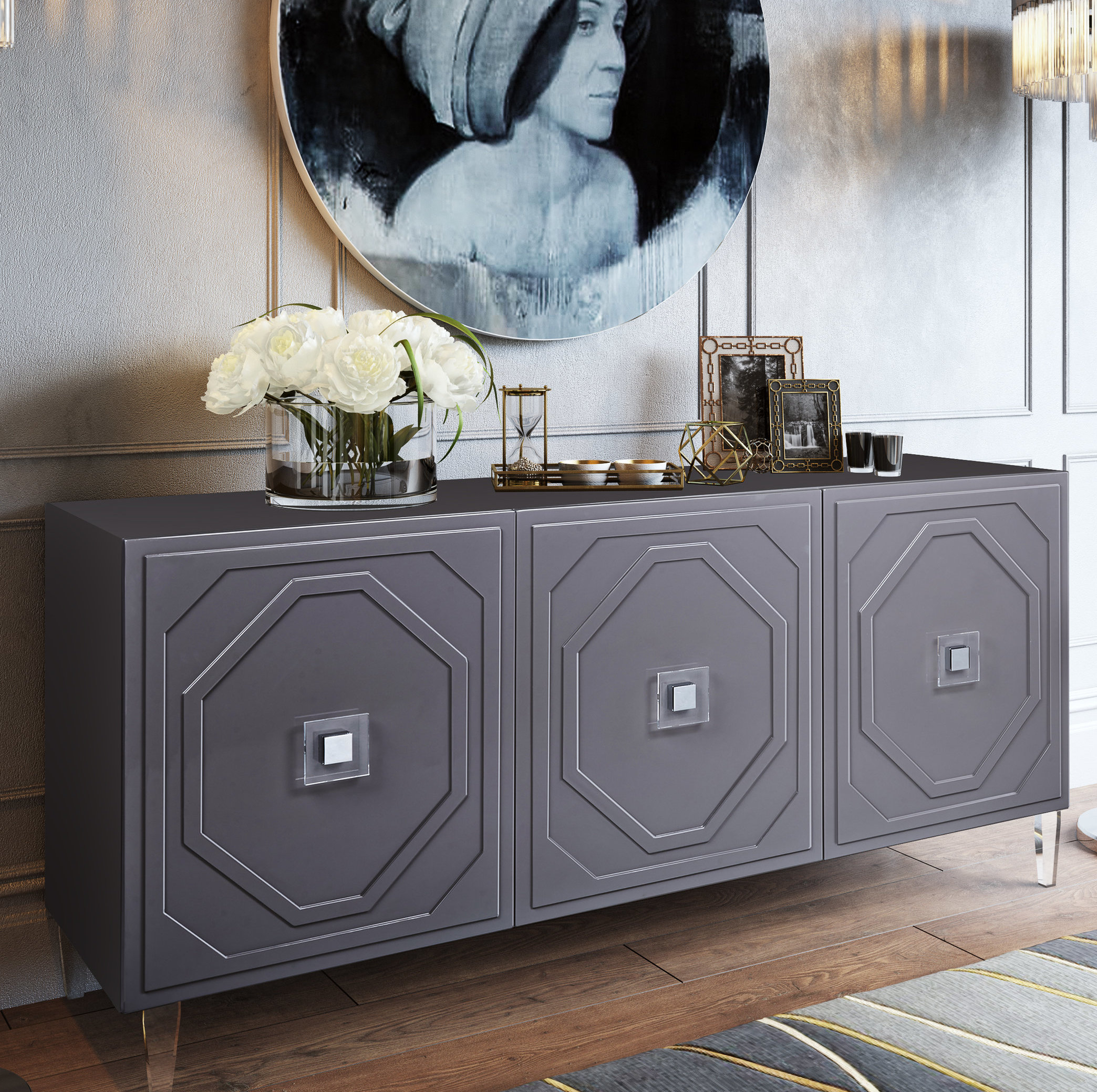 Inspiration about Trish Lacquer Buffet Table Regarding Most Popular Jacklyn 3 Door Sideboards (#19 of 20)