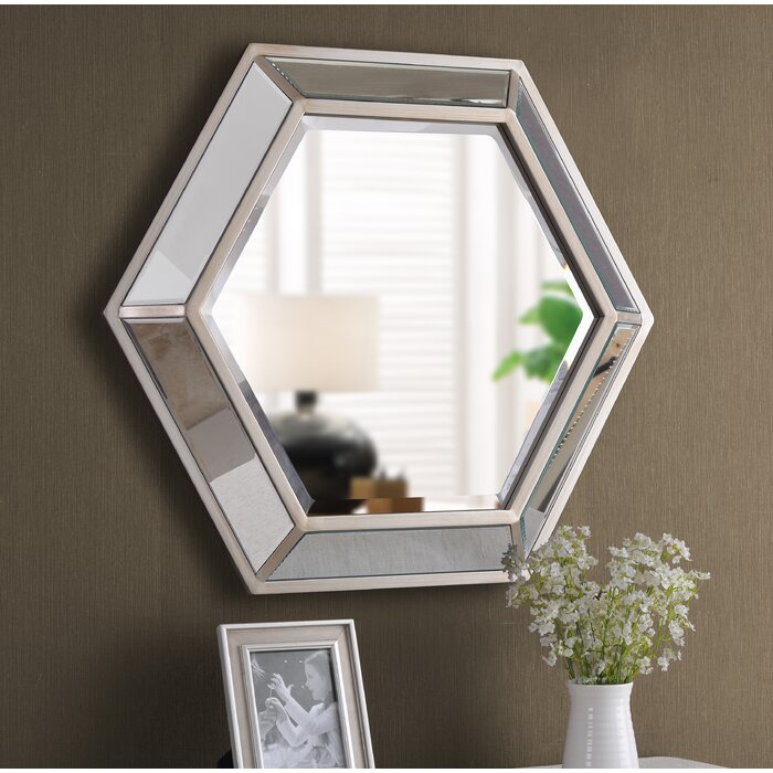 Tulare Hexagonal D Ring Wall Mounted Beveled Accent Mirror Throughout Trigg Accent Mirrors (#20 of 20)