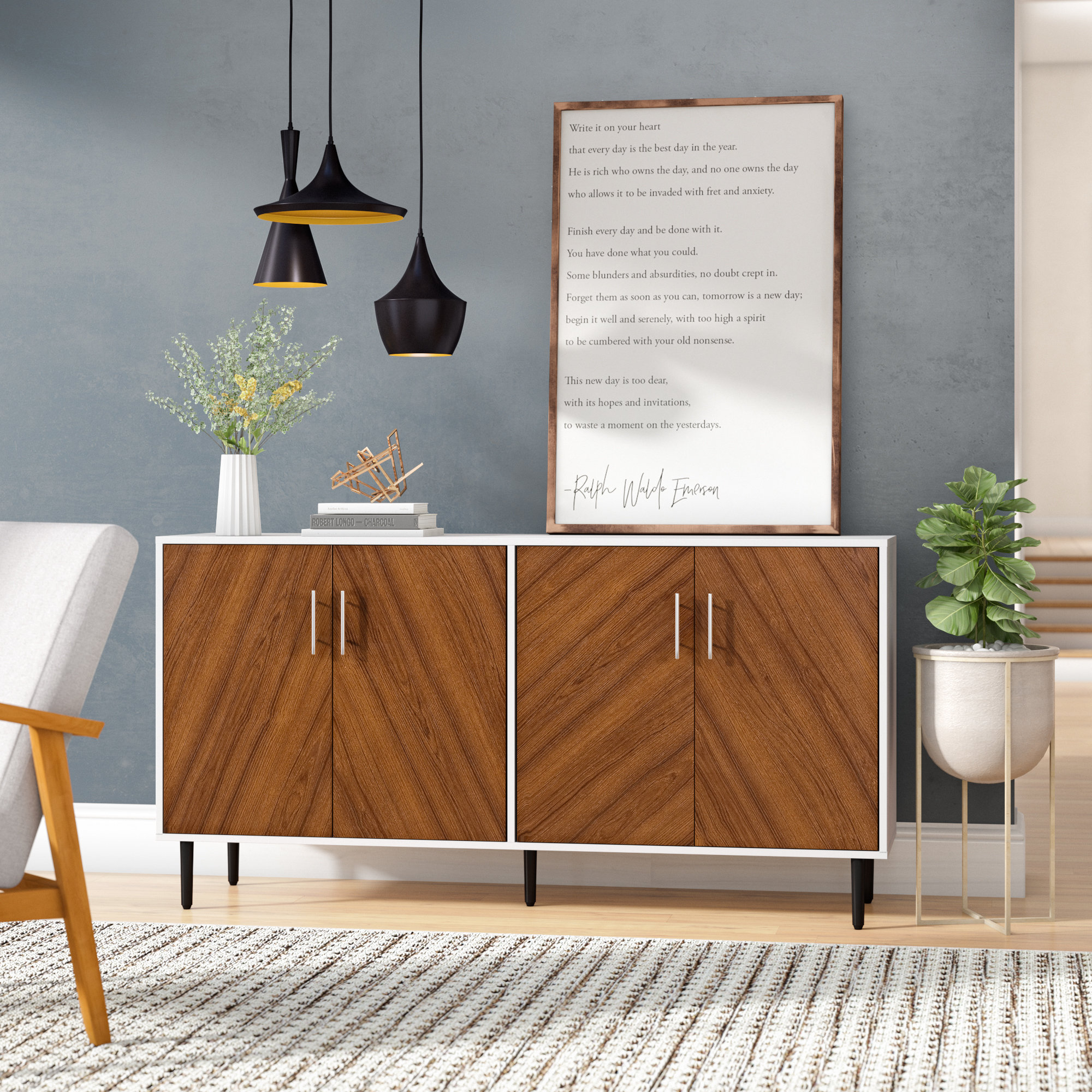 Inspiration about Turn On The Brights Keiko Modern Bookmatch Buffet Table With Regard To Newest Keiko Modern Bookmatch Sideboards (#5 of 20)