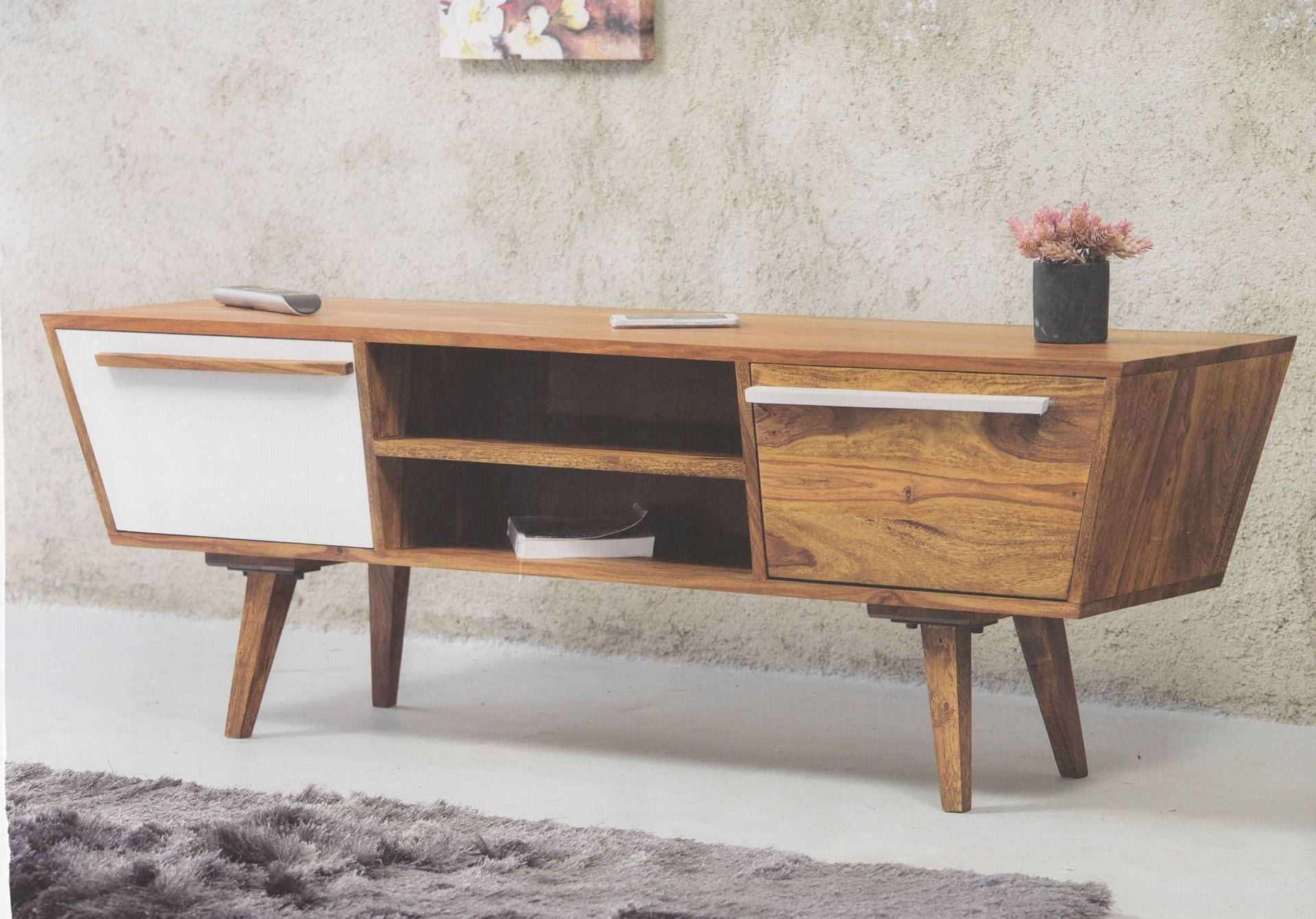 Tv Board Sideboard Vintage Oslo Trapez Massivholz Retro In Newest Upper Stanton Sideboards (#15 of 20)