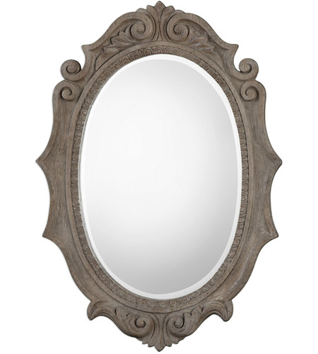 Uttermost 09239 Serafina Oval 43 X 30 Inch Weathered Old Wood Wall Mirror Pertaining To Oval Wood Wall Mirrors (#17 of 20)