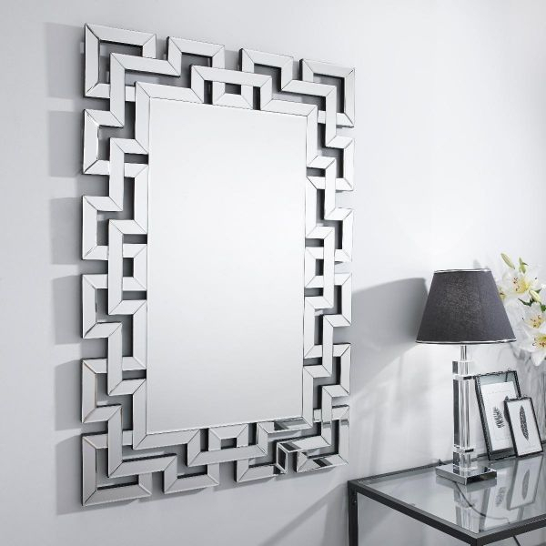 Venetian Large Silver Patterned Rectangular Wall Mirror In Modern Rectangle Wall Mirrors (#16 of 20)