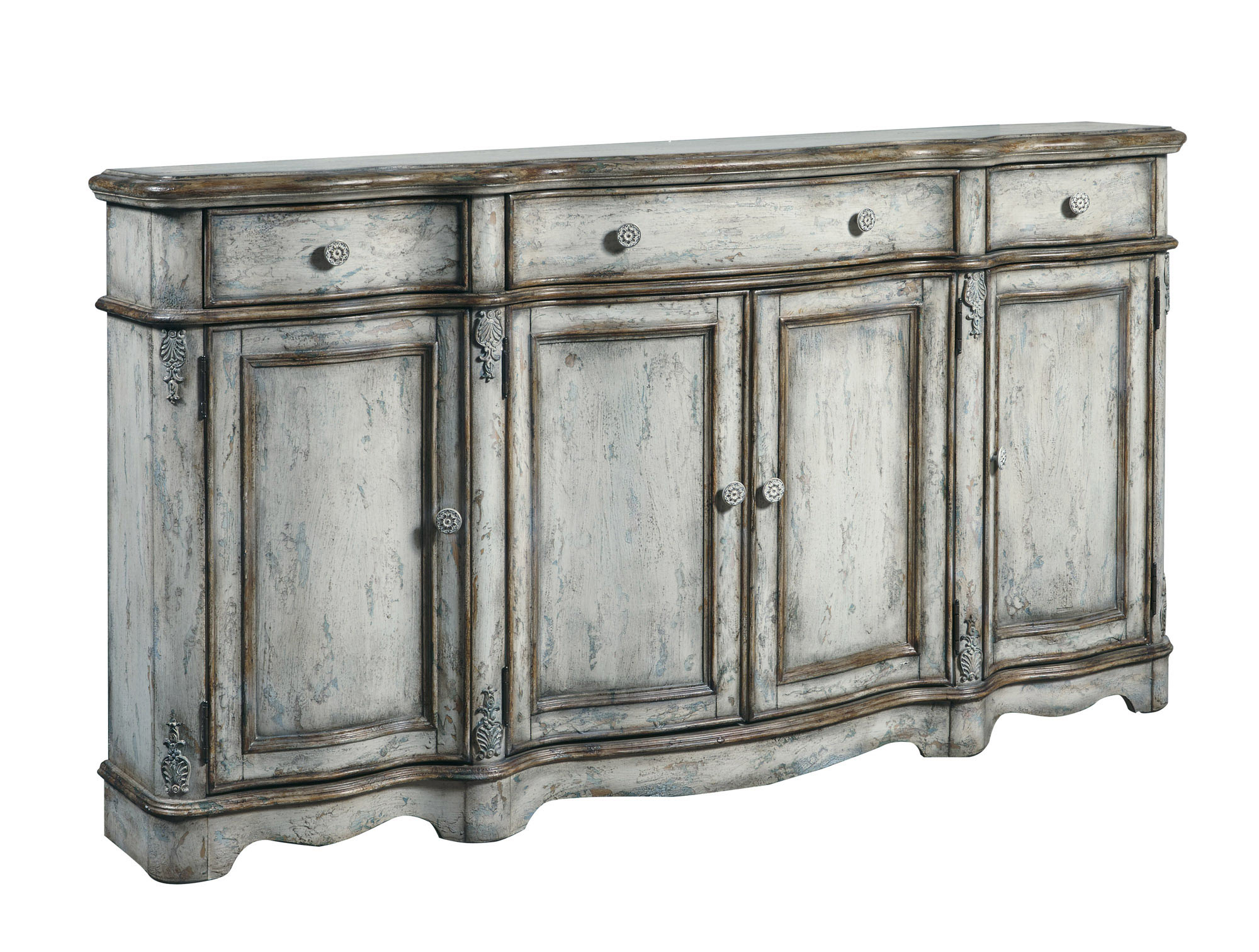 Vintage Credenza In Antique White | Pulaski | Home Gallery For Current Giulia 3 Drawer Credenzas (View 14 of 20)