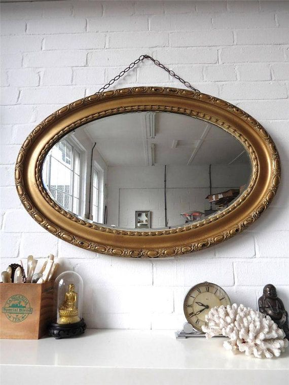 Vintage Extra Large Oval Bevelled Edge Wall Mirror With Gold With Oval Wood Wall Mirrors (#18 of 20)
