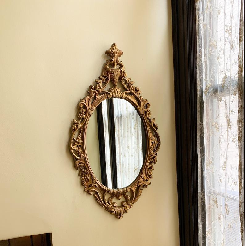 Vintage Mirror Gold Mirror Wall Mirror Decorative Mirror Bedroom Mirror Antique Mirror Oval Mirror Ornate Mirror Rococo Mirror Syroco Mirror Intended For Polen Traditional Wall Mirrors (View 20 of 20)