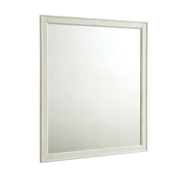 Inspiration about Wagner 32 In. Traditional Mirror With Antique White Mdf Frame, Square Shape, Mounting Type: Metal Inset Hanger With Regard To Traditional Square Glass Wall Mirrors (#17 of 20)