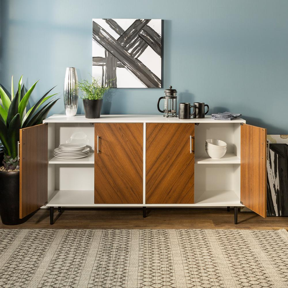 Inspiration about Walker Edison Furniture Company 58 In. White/teak Modern For Current Keiko Modern Bookmatch Sideboards (#3 of 20)