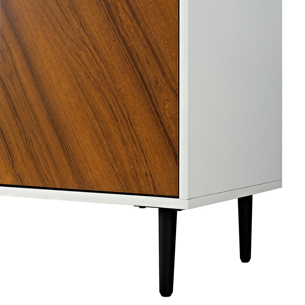 Inspiration about Walker Edison Furniture Company 58 In. White/teak Modern Inside Most Current Keiko Modern Bookmatch Sideboards (#17 of 20)