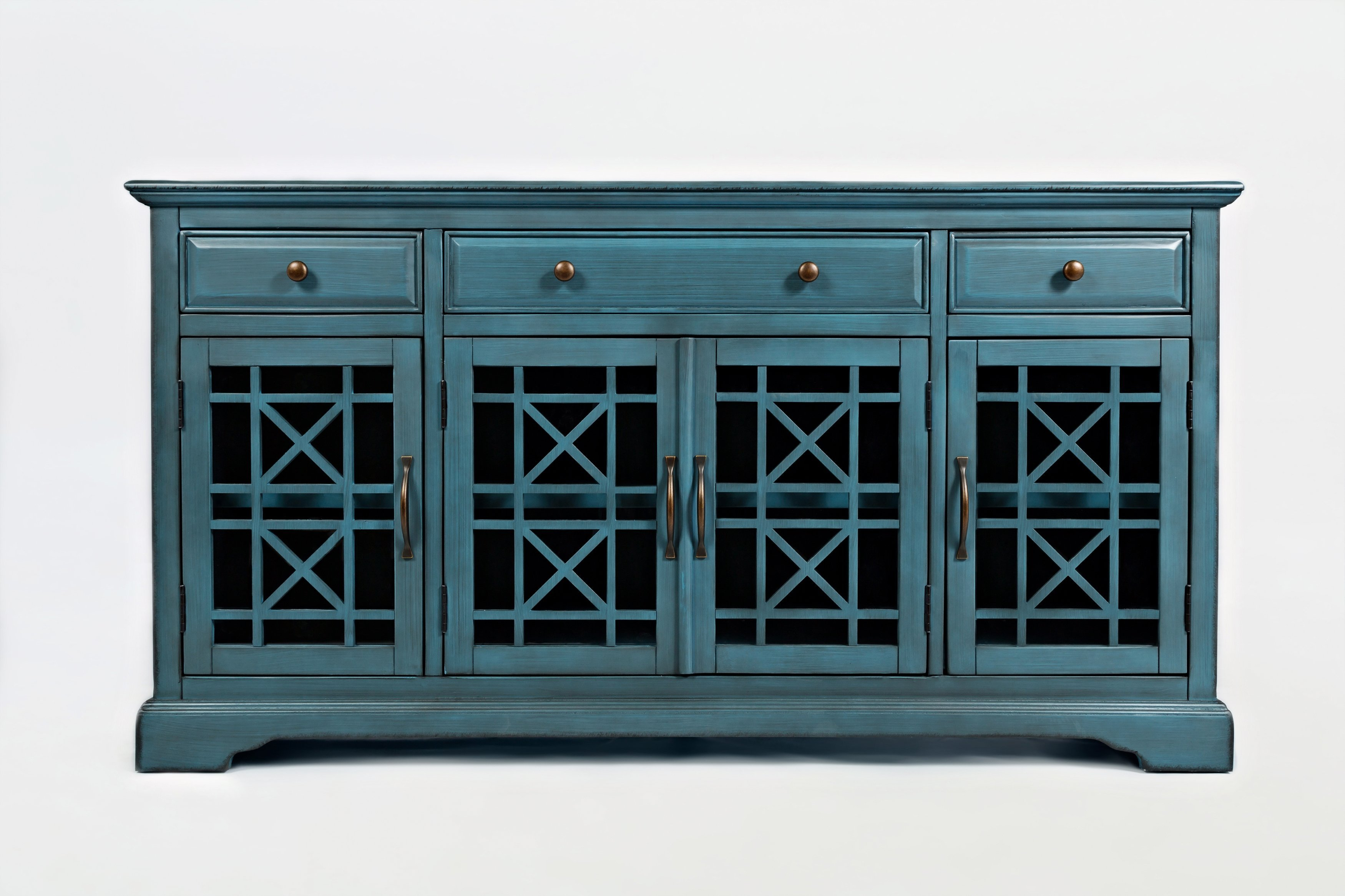 "Inspiration about Wooden 60"" Media Unit With 3 Drawers And 4 Doors, Antique Intended For 2018 Mauldin 3 Door Sideboards (#6 of 20)"