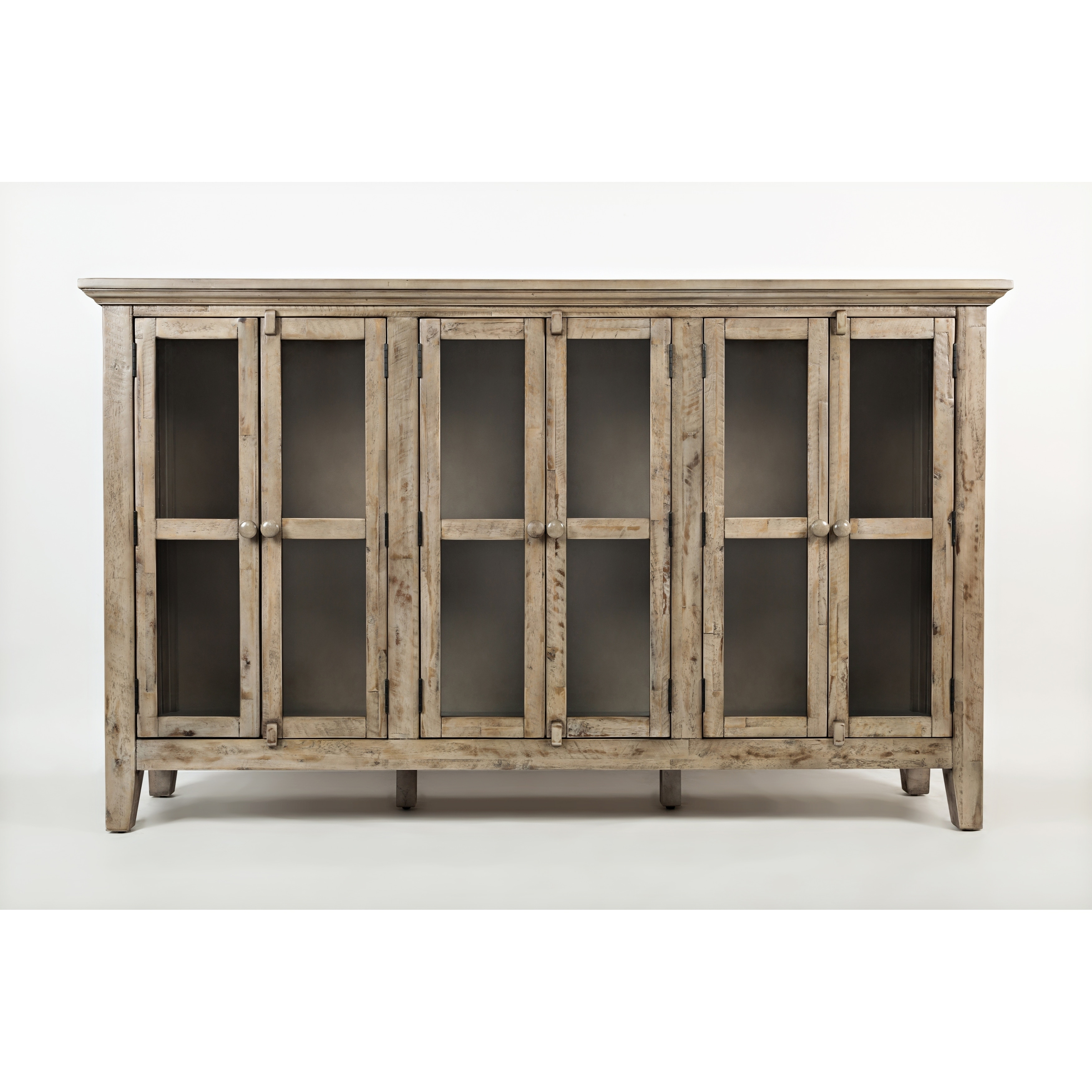 Wooden Accent Cabinet With 6 Glass Doors, Weathered Gray For Current Eau Claire 6 Door Accent Cabinets (#20 of 20)