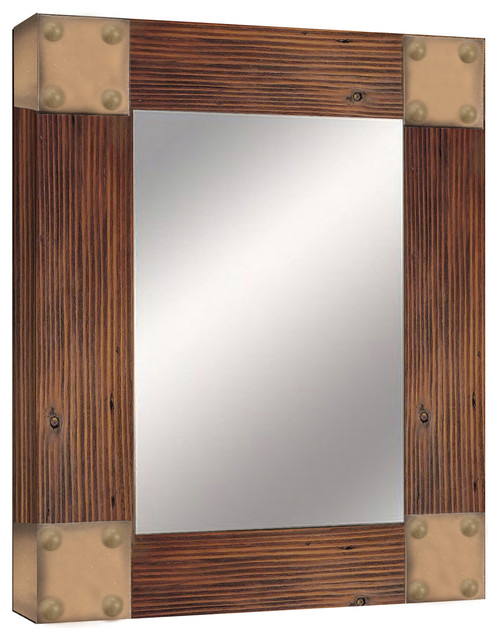 Inspiration about Wooden Accent Mirror, Brown, Textured With Wood Accent Mirrors (#6 of 20)