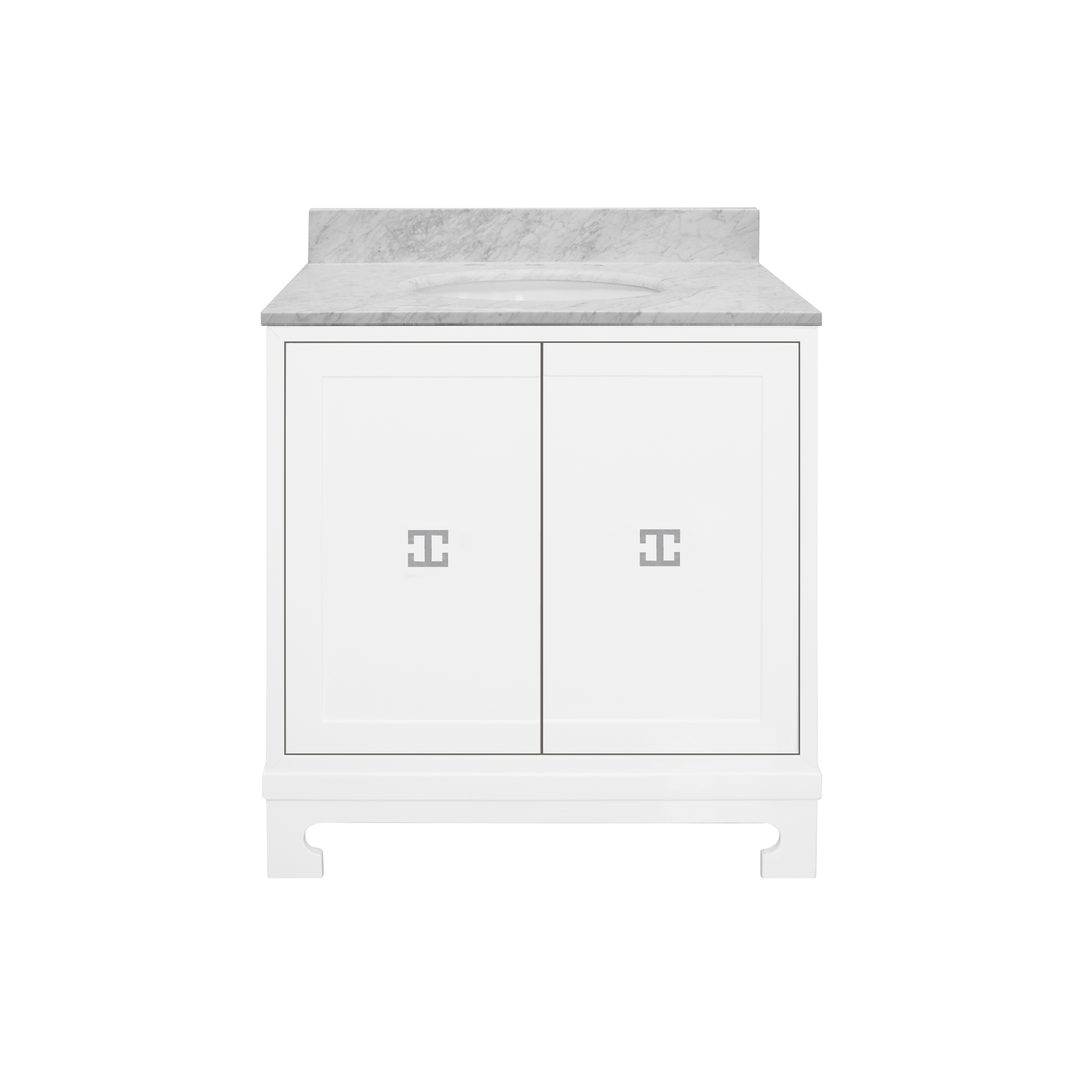Worlds Away Candace White Bath Vanity, Nickel Pertaining To Most Recent Candace Door Credenzas (#20 of 20)