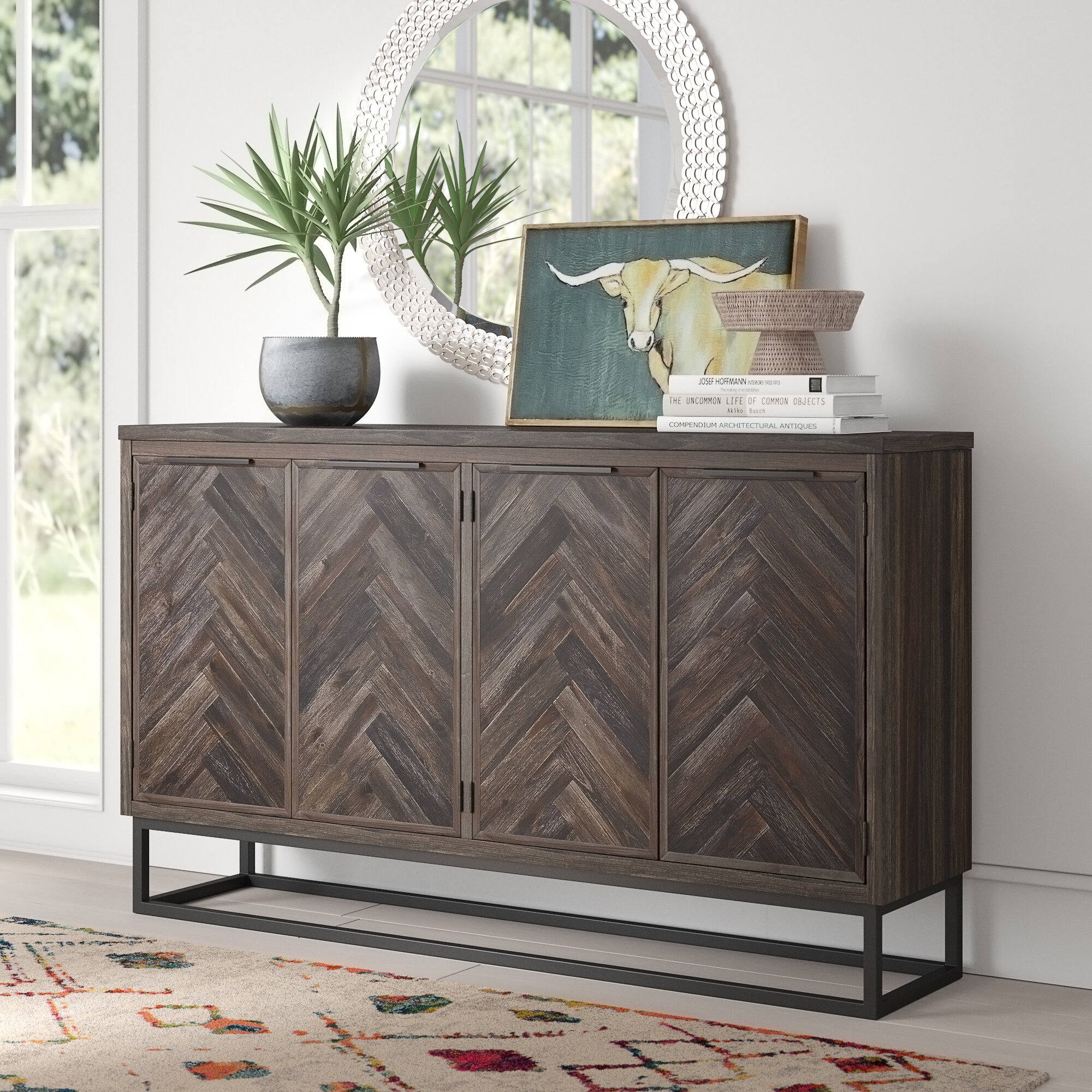 Wrought Iron Credenza | Wayfair Regarding Recent Upper Stanton Sideboards (#18 of 20)