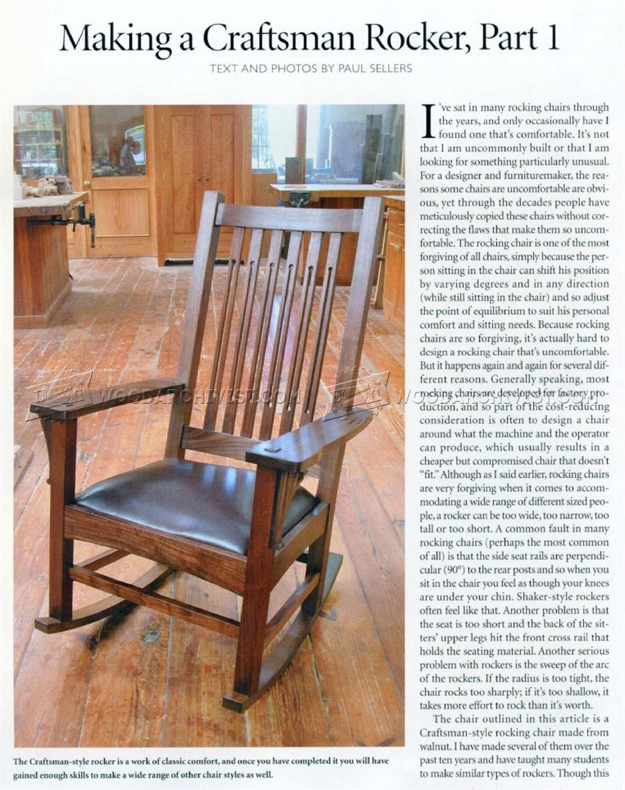 Inspiration about 1861 Craftsman Rocking Chair Plans – Furniture Plans | The With Luxury Mission Style Rocking Chairs (#14 of 20)