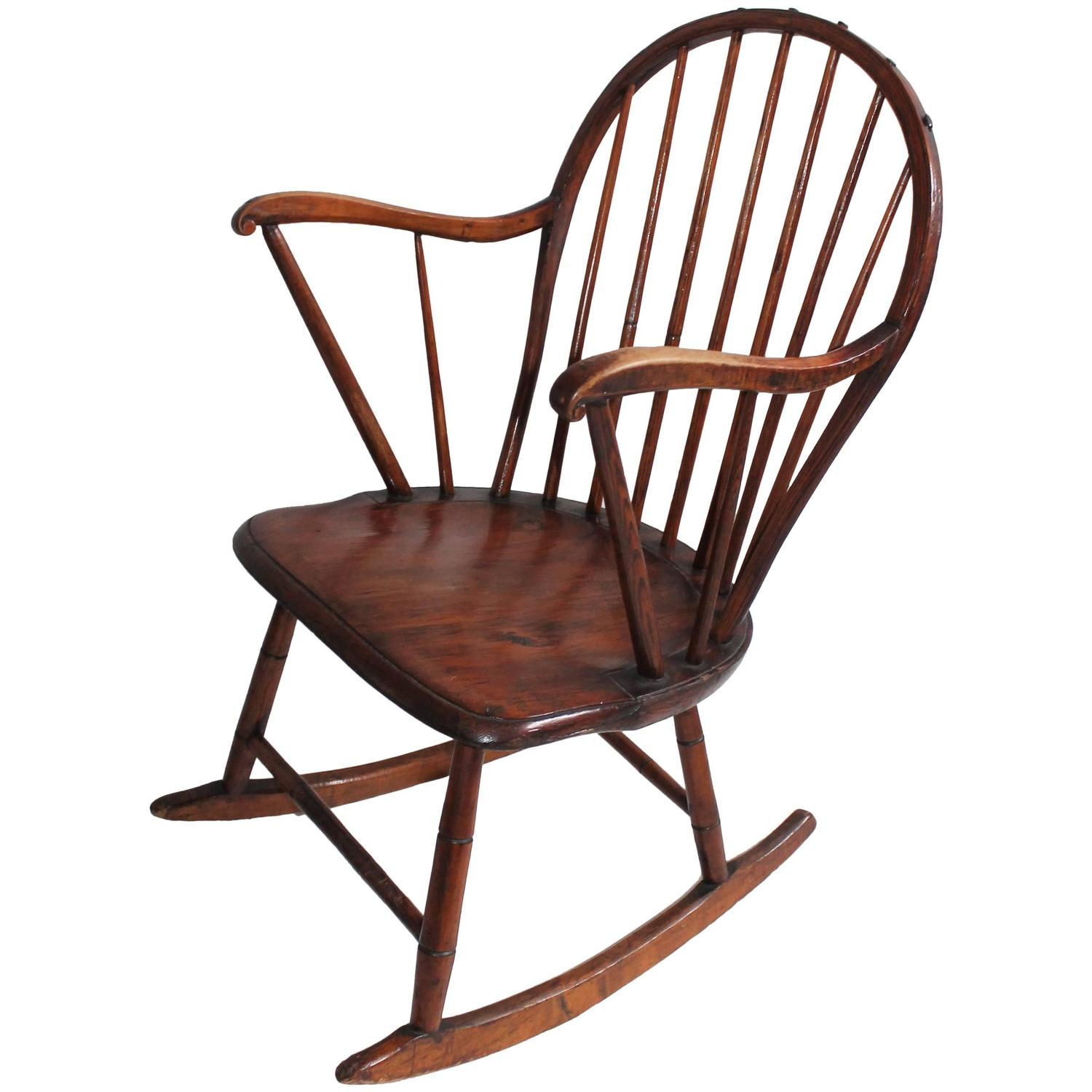18Th Century Extended Arm Windsor Rocking Chair Pertaining To Colonial Antique Black Rocking Chairs (#1 of 20)