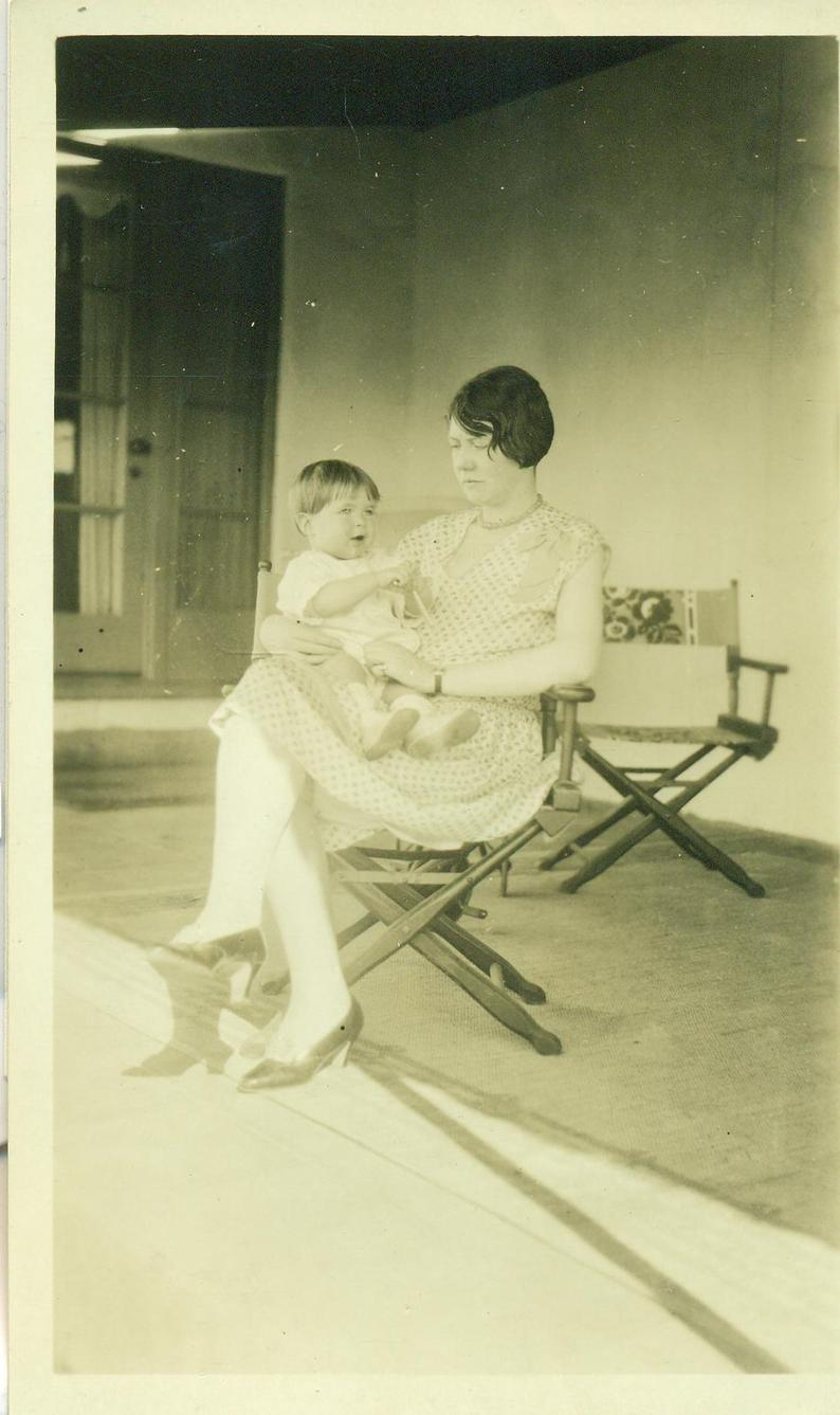 1920S Flapper Mother Sitting In Chair With Baby Porch 20S Antique Vintage  Photograph Black White Photo Regarding Ethel Country White Rocking Chairs (#1 of 20)