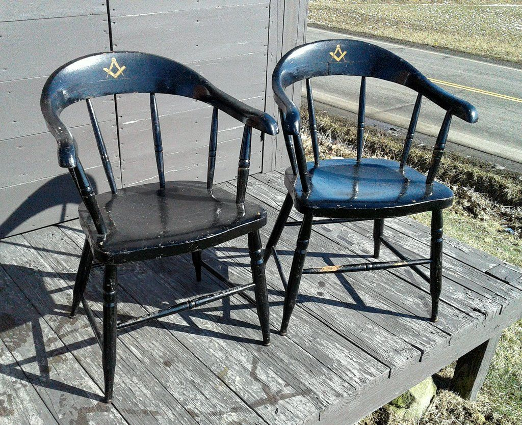 Inspiration about 2 Masonic Lodge Barrel Back Black Chairs With Masonic Decals With Dover Bentwood Rocking Chairs (#11 of 20)