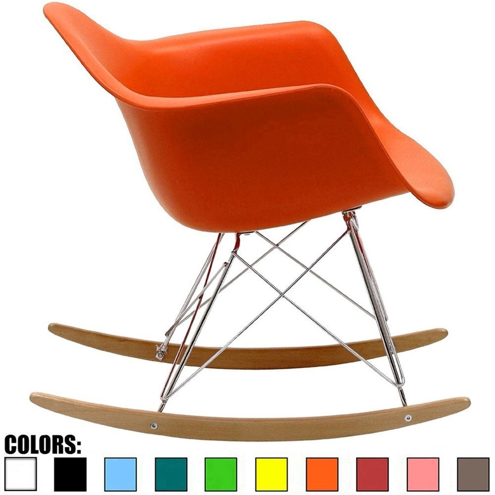 Inspiration about 2Xhome Orange Natural Wood Metal Wire Plastic Rocker Chair Rocking Lounge  Bedroom Living Room With Arms Back Nursery Accent For Orange Rocking Chairs Lounge Chairs (#4 of 20)