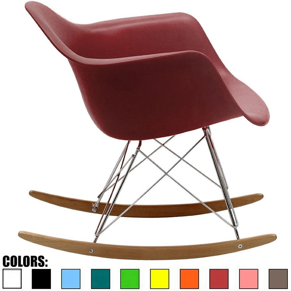 Inspiration about 2Xhome – Red Modern Plastic Rocker Rocking Lounge Chair Nursery With Arm  Wood Wire Leg Inside Plastic Arm Chairs With Rocking Legs (#3 of 20)