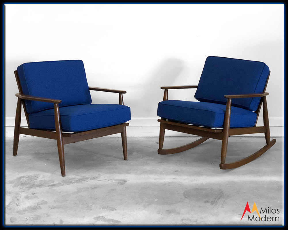 60S Mid Century Modern Pair 2 Blue Baumritter Side Arm Chairs Rocker New Fabric With Modern Blue Fabric Rocking Arm Chairs (View 9 of 20)