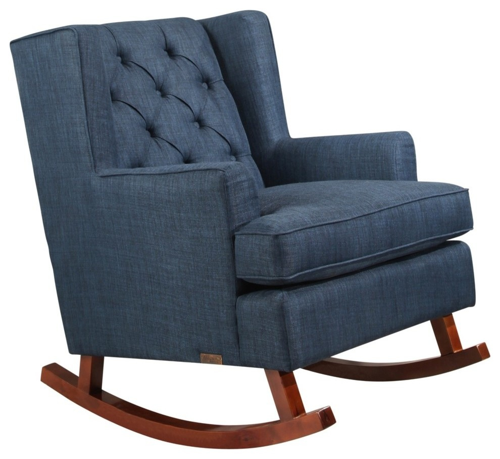 Abbyson Living Reagan Tufted Fabric Rocker, Blue In Poly And Bark Teal Rocking Chairs Lounge Chairs (View 1 of 20)