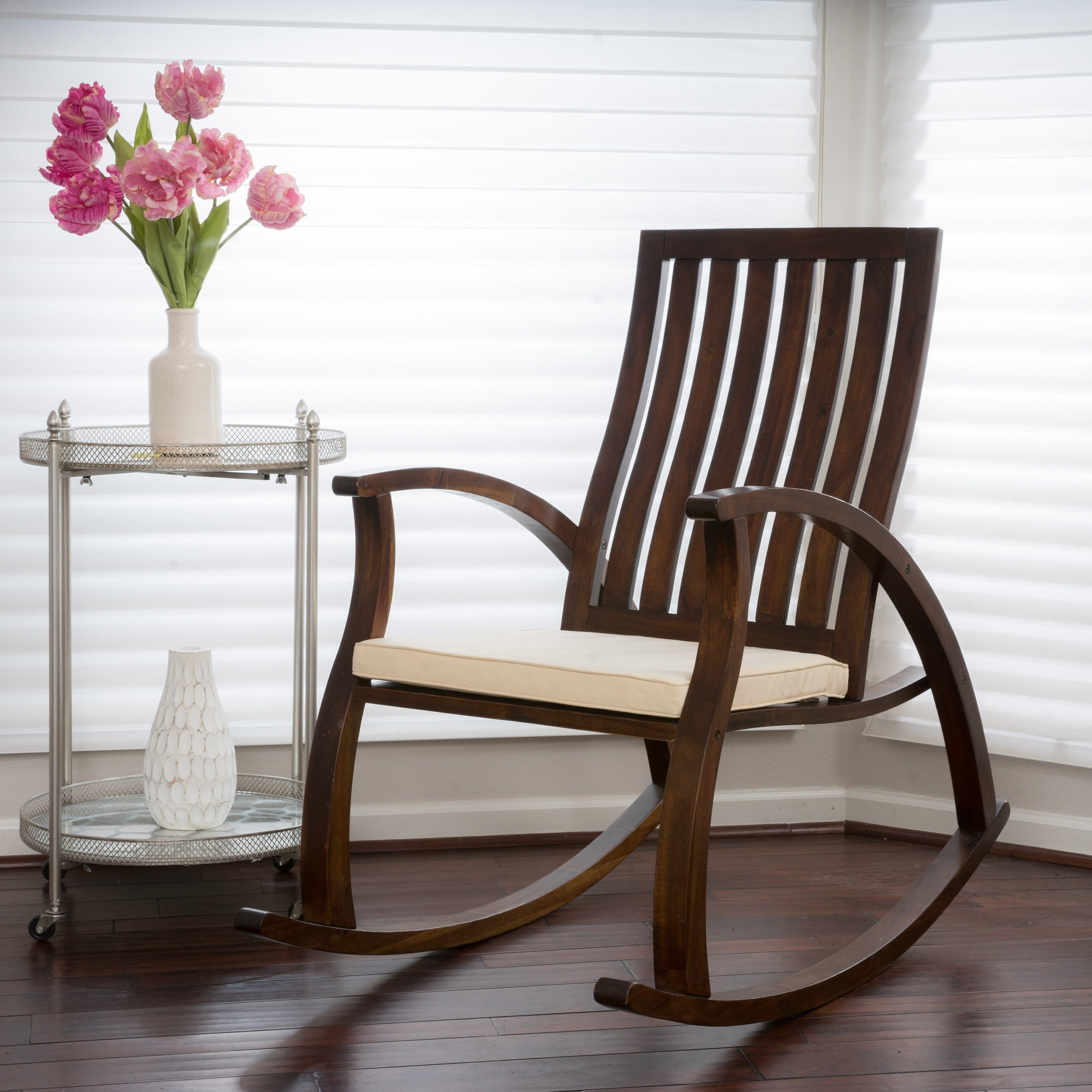 Abraham Brown Mahogany Wood Rocking Chair W/ Cushionchristopher Knight  Home With Tobacco Brown Wooden Rocking Chairs (#1 of 20)