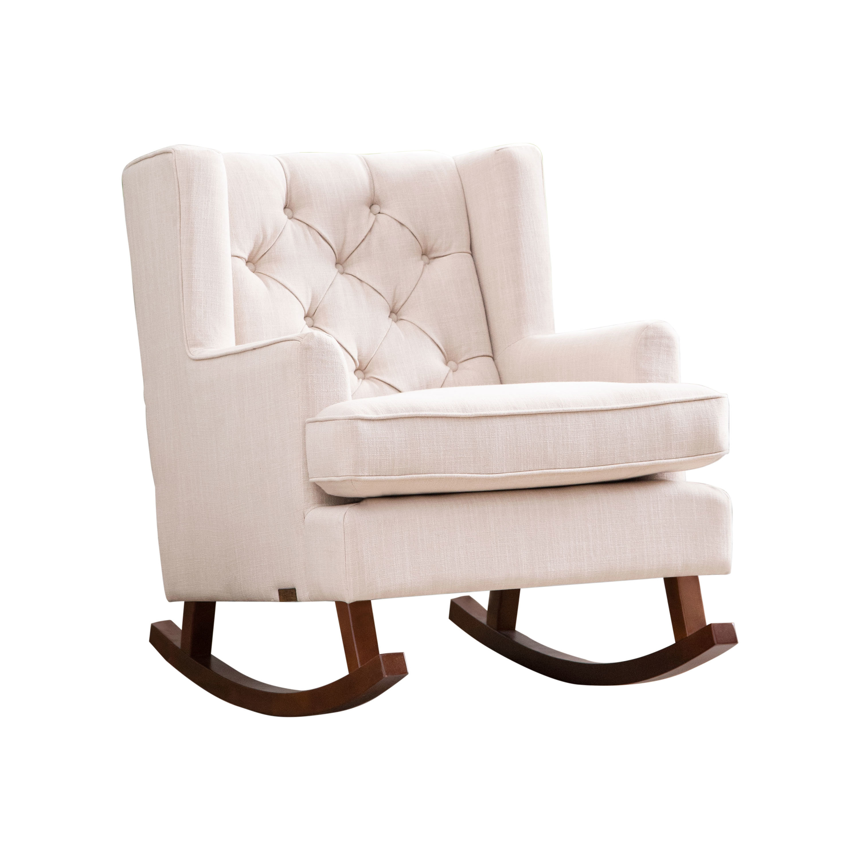 Abree Rocking Chair In Rocking Chairs In Linen Fabric With Medium Espresso Base (View 8 of 20)