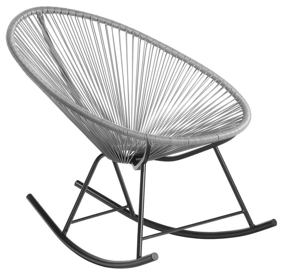 Acapulco Rocking Indoor/outdoor Lounge Chair, Grey Weave On Black Frame Within Rocking Chairs & Lounge Chairs In Grey (#1 of 20)