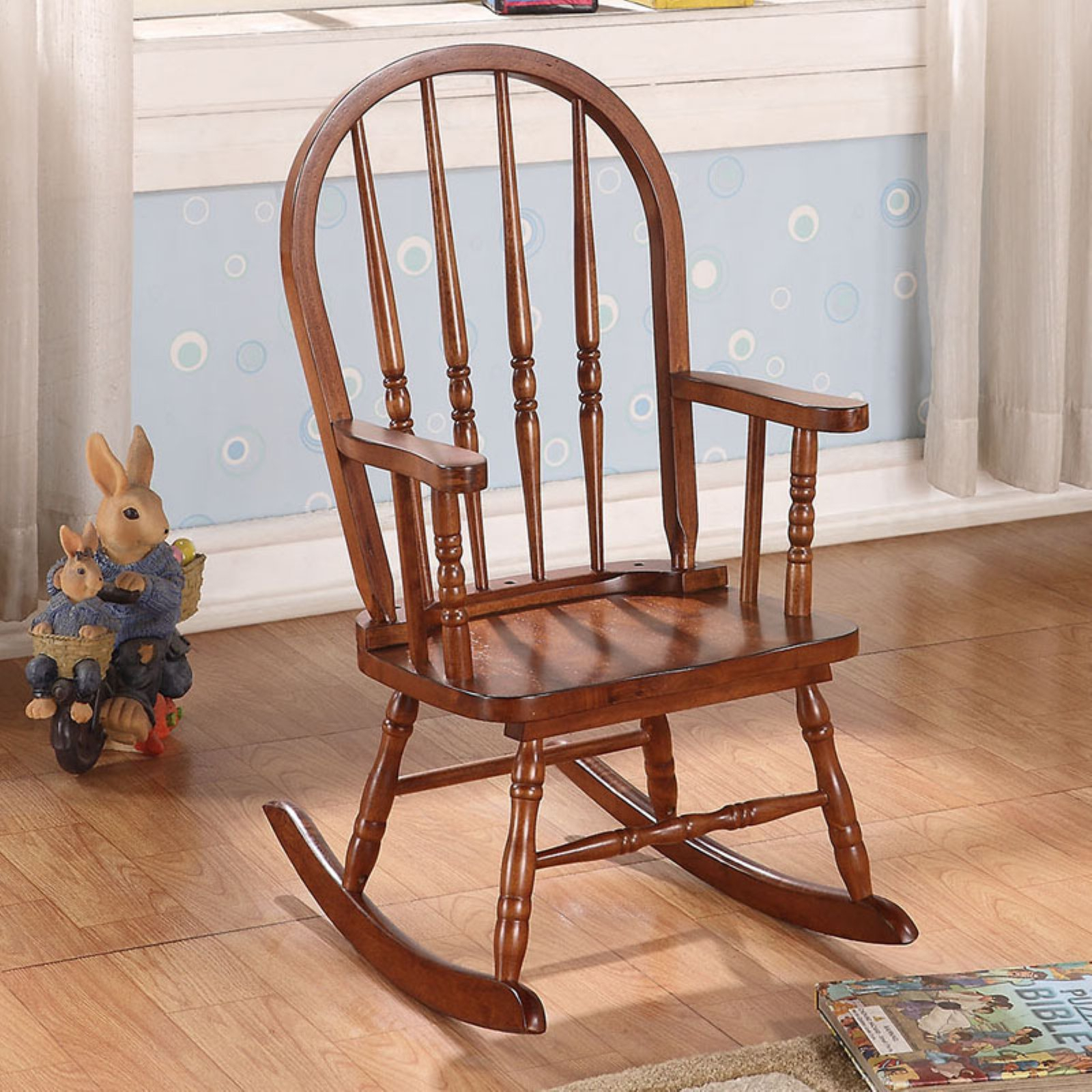 Acme Furniture Kloris Arched Back Youth Rocking Chair With Brown Wood Youth Rocking Chairs (#2 of 20)