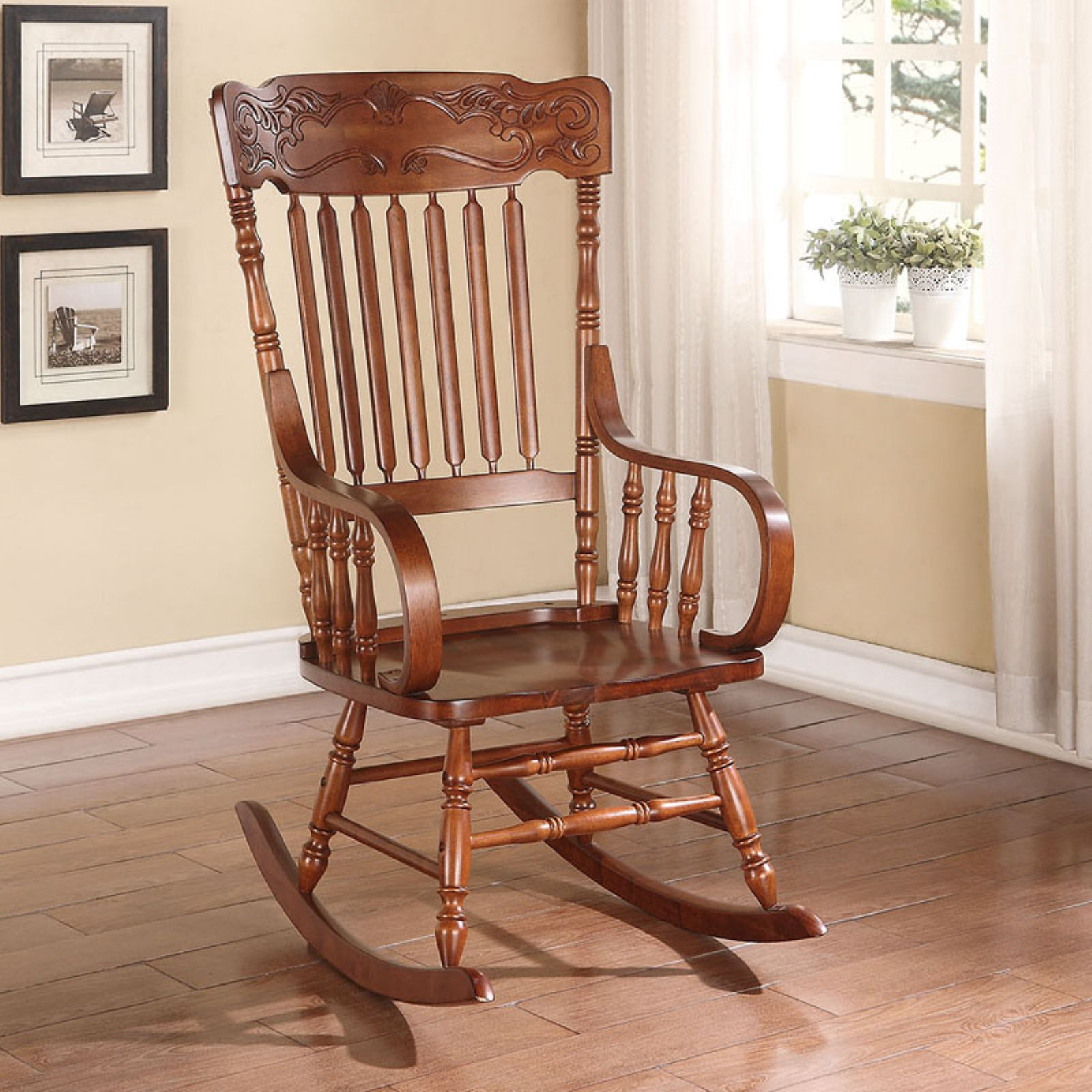 Acme Furniture Kloris Carved Back Rocking Chair With Curved For Liverpool Classic Style Rocking Chairs In Antique Oak Finish (#1 of 20)