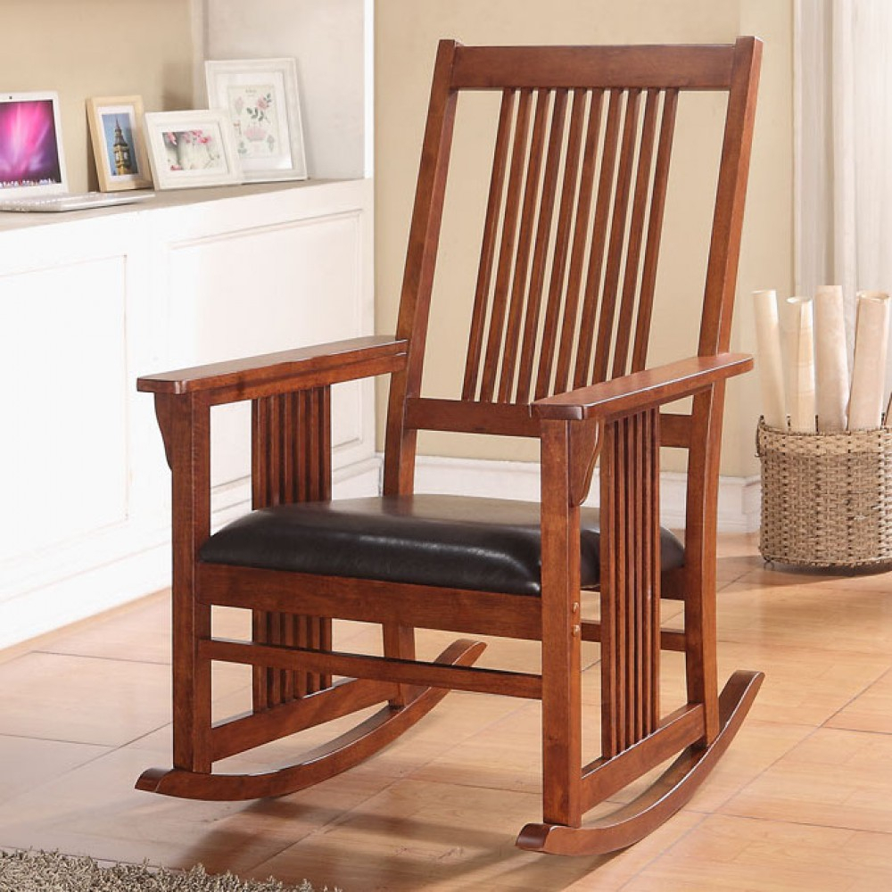Acme Furniture Kloris Rocking Chair In Tobacco Inside Tobacco Brown Wooden Rocking Chairs (#2 of 20)