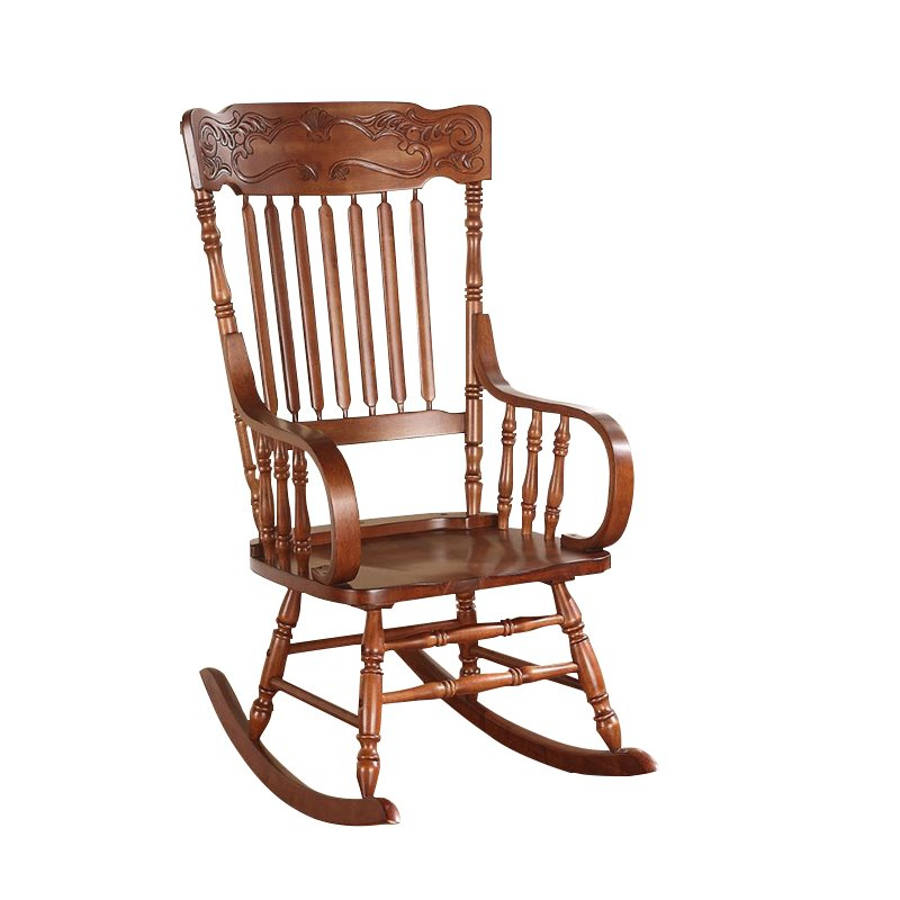 Acme Furniture Kloris Tobacco Rocking Chair With Elegant Tobacco Brown Wooden Rocking Chairs (#1 of 20)