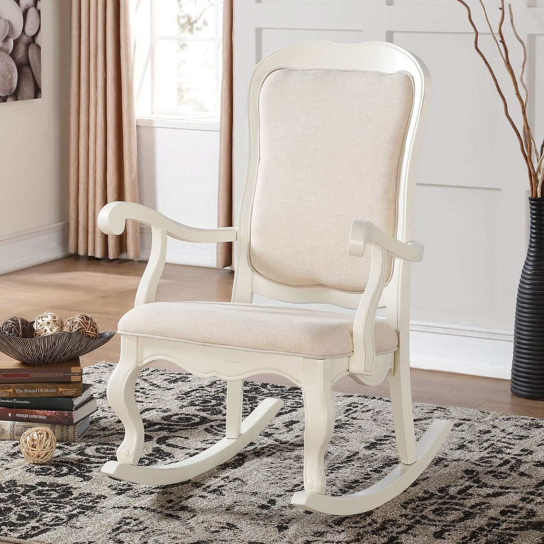 Acme Sharan Rocking Chair In Antique White Intended For Beige Fabric And Cherry Wood Rocking Chairs (View 15 of 20)