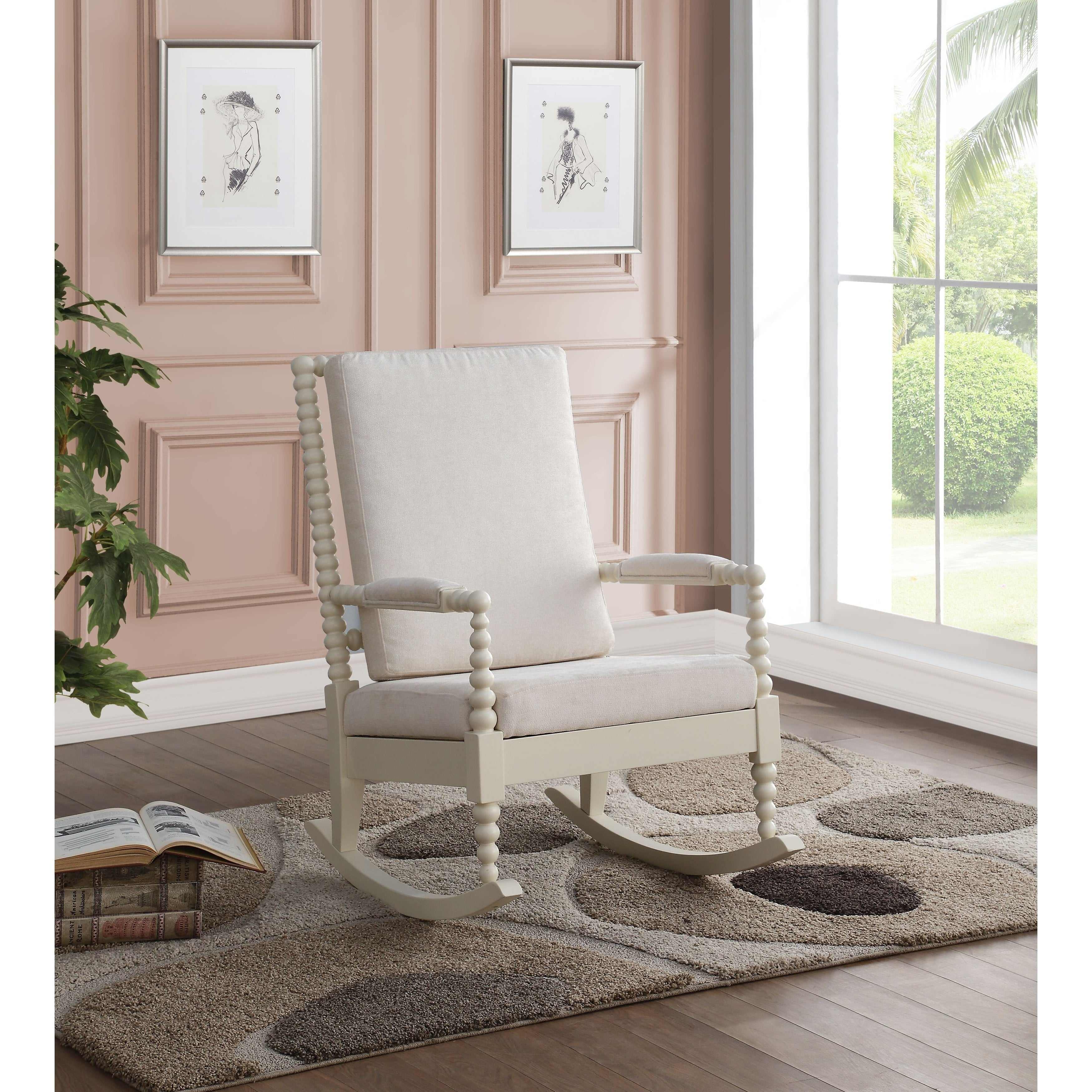 Popular Photo of Rocking Chairs In Cream Fabric And White